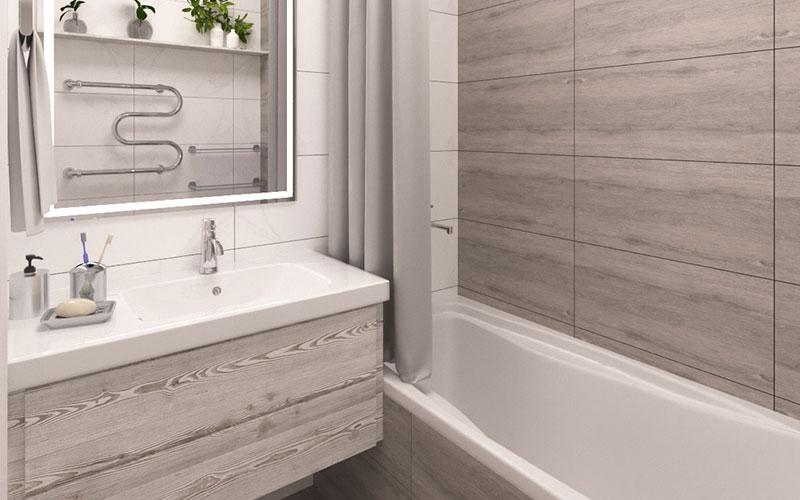 Дизайн ванной комнаты с маленькой ванной