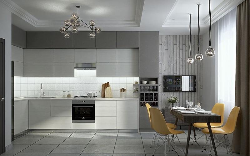дизайн интерьера кухни в серых тонах
