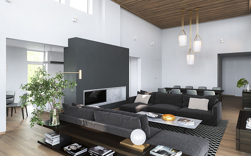 Серый дизайн интерьера