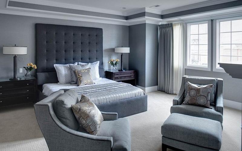 дизайн интерьера спальни в серых тонах