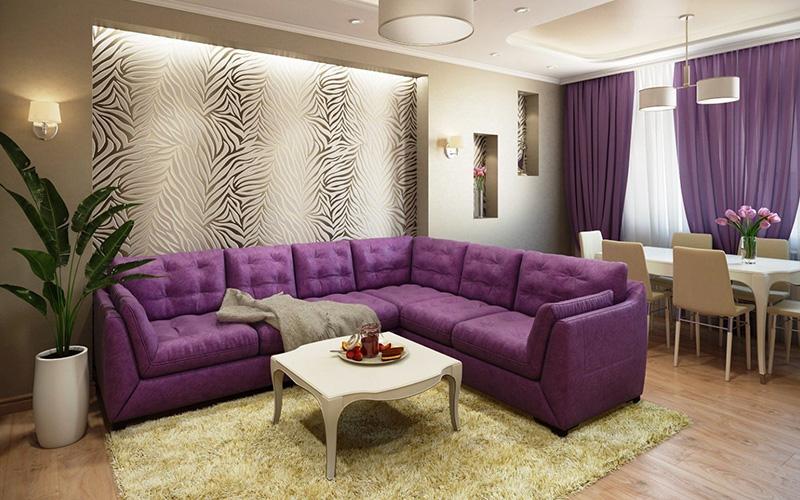 гостиной с угловым диваном