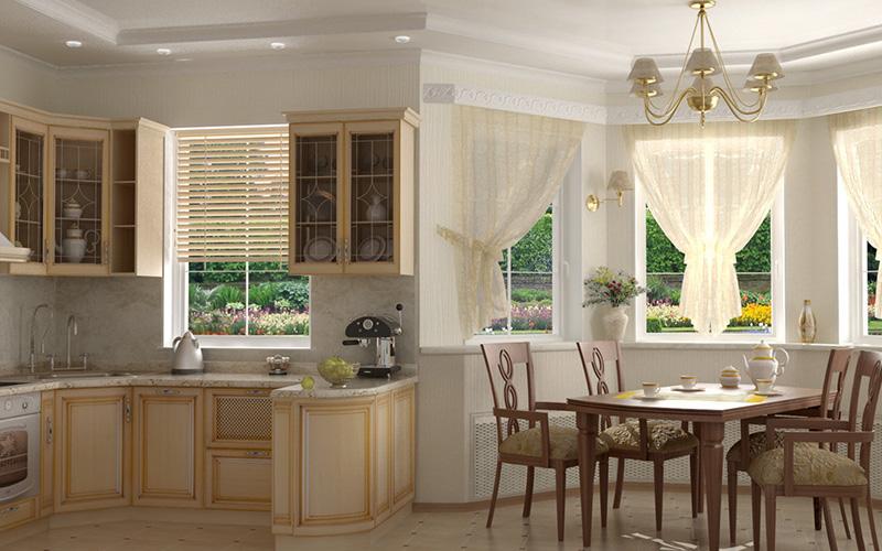 Дизайн кухни с эркером в частном доме