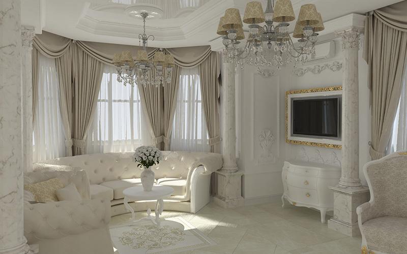 Дизайн гостиной с эркером в частном доме