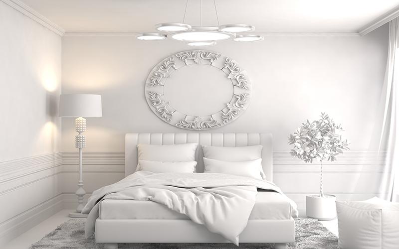Дизайн спальни с белой мебелью в современном стиле