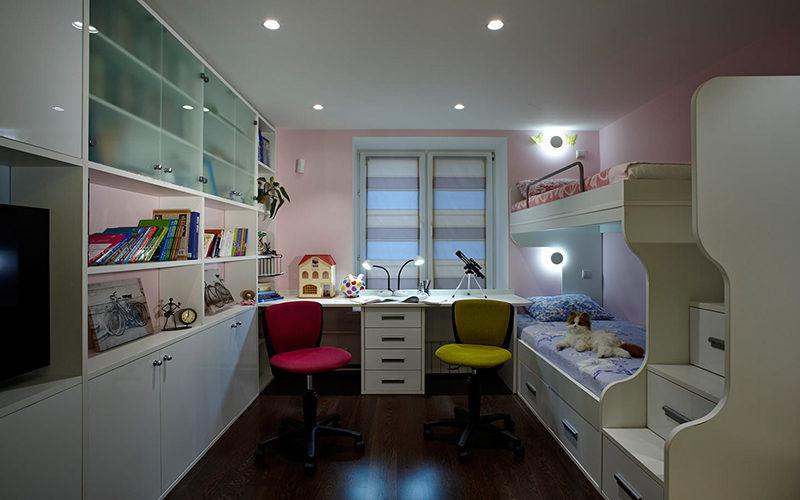 Дизайн детской комнаты для двоих разнополых школьников