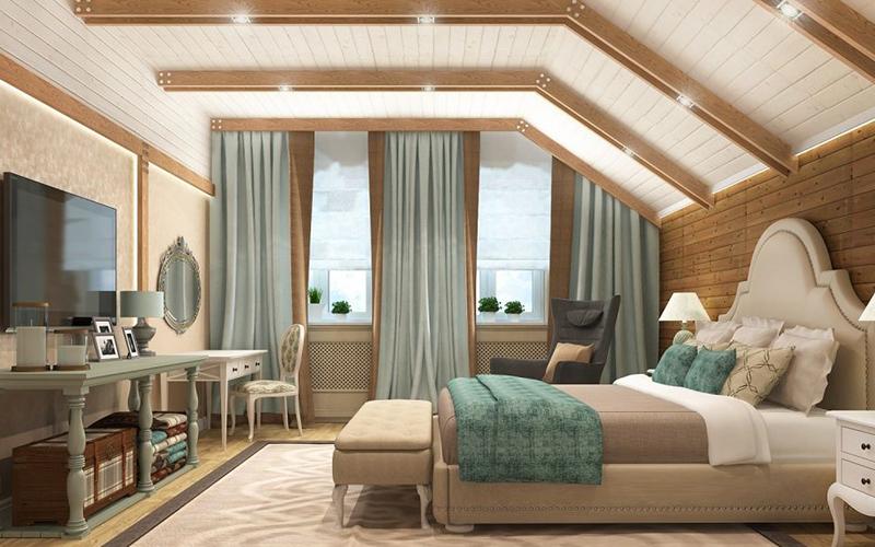 Дизайн спальни в мансарде со скошенным потолком